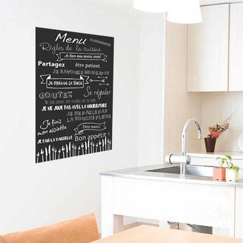 Sticker autocollant Règles de la cuisine menu dans une cuisine