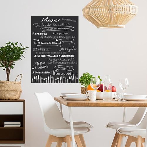 Sticker règles de la cuisine menu déco dans une cuisine