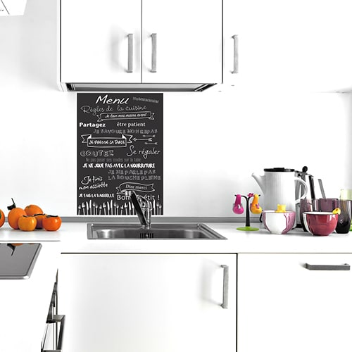 Sticker adhésif au dessus d'un évier Règles de la cuisine menu
