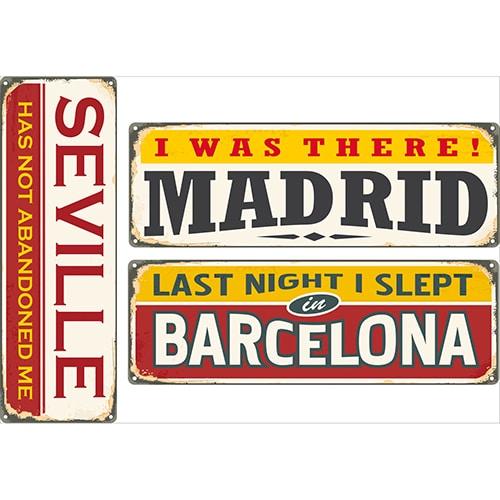 Sticker adhésif Madrid Barcelone Séville décoration murale