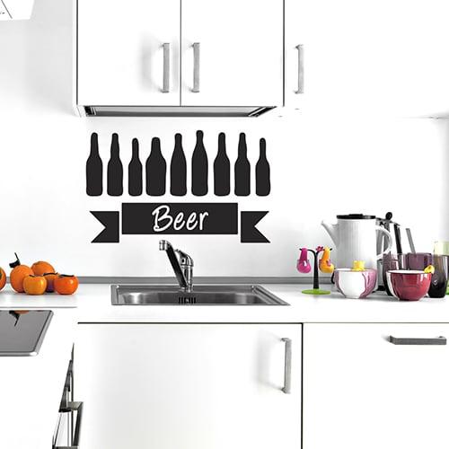 Sticker autocollant Beer au dessus d'un évier de cuisine