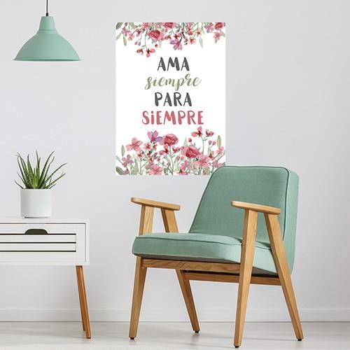 Sticker planche Ama siempre au dessus d'un fauteuil déco pour salon