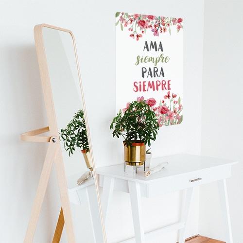 Sticker planche Ama siempre au dessus d'une petite table décoration pour salon