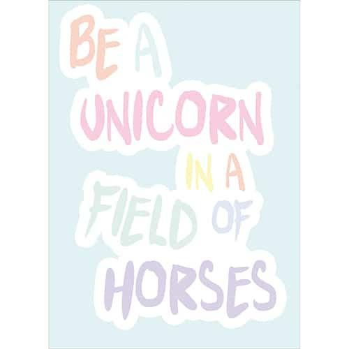 Sticker planche multicolore Be a unicorn
