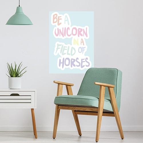 Sticker adhésif Be a unicorn décoration pour salon