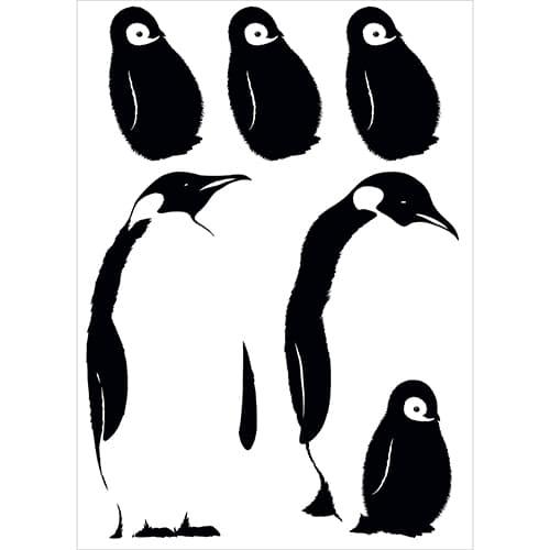 Sticker adhésif noir et blanc avec pingouins
