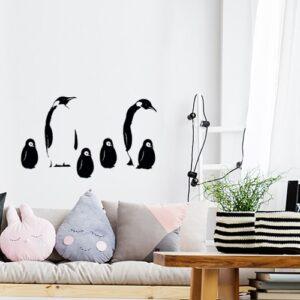 Sticker autocollant Antarctique dans un salon avec pingouins noir et blanc