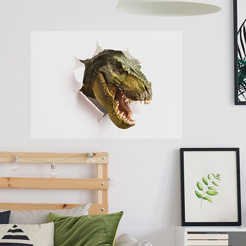 Sticker autocollant Illusions de dinosaures au dessus d'un bureau
