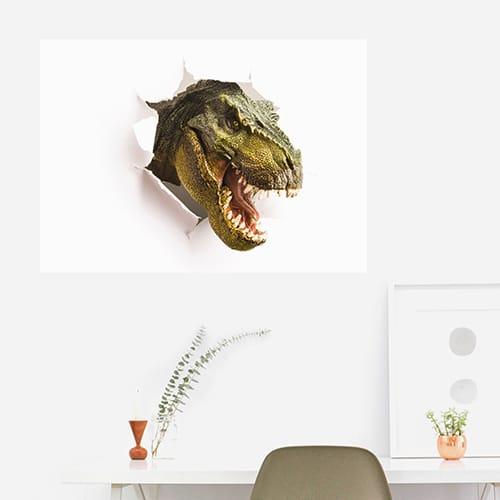 Sticker planche Illusions de dinosaures déco pour salon
