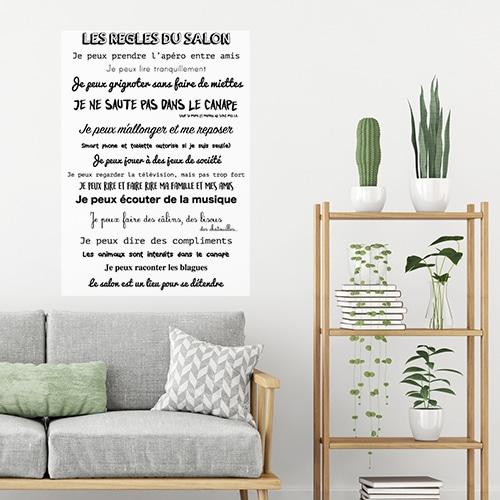 Sticker adhésif règles du salon au dessus d'un canapé déco pour salon