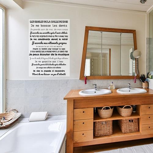Sticker autocollant règle de la salle de bain à côté d'une vitre déco pour la salle de bain