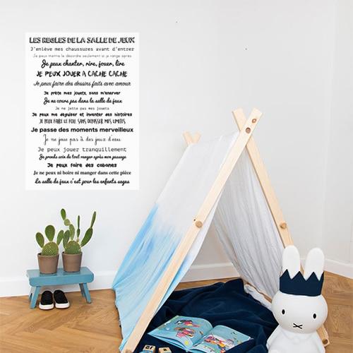 Sticker mural règles de la salle de jeux dans une chambre de bébé