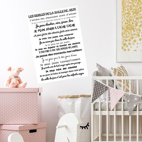 Sticker adhésif règles de la salle de jeux dans une chambre d'enfant