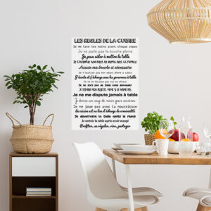 Salle à manger décorée avec un sticker citation Les Règles de la cuisine