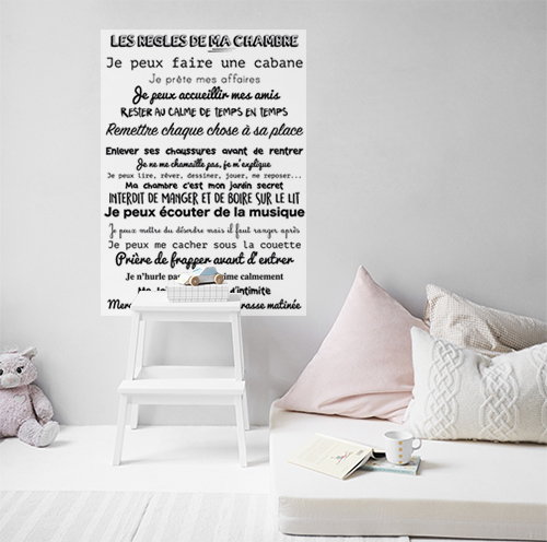sticker décoratif citation Les Règles de ma chambre collé dans une chambre blanche