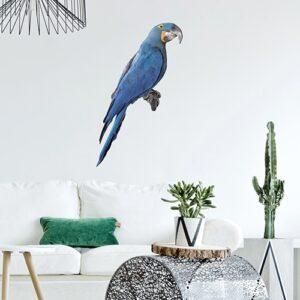 Sticker adéhsif Ara bleu pour la déco de votre salon jungle