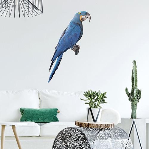Sticker adéhsif Ara bleu pour la déco de votre salon