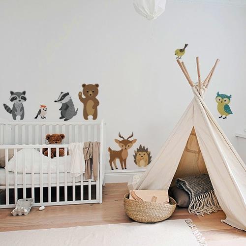 Sticker autocollant Animaux de la forêt dans une chambre d'enfant