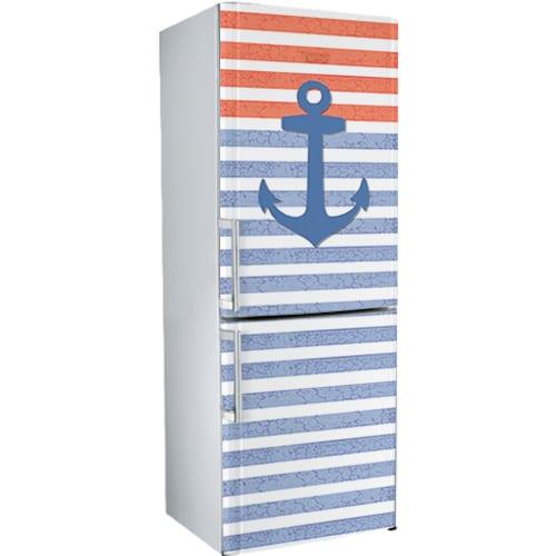 Sticker adhésif Marinière pour déco d'électroménager comme ce frigidaire réfrigérateur