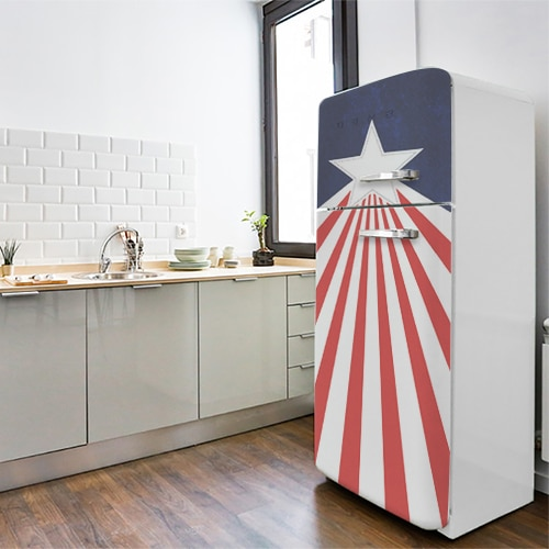 Stickers Stars and banners déco sur un frigo vintage bleu blanc rouge pour cuisine décoration originale
