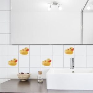 Sticker Canard Jaune décoration pour salle de bain baignoire blanche