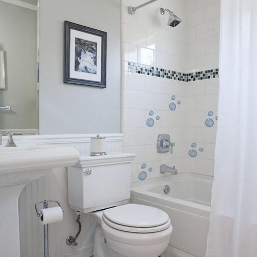 Stickers bulles de savon au dessu d'une baignoire décoration salle de bain