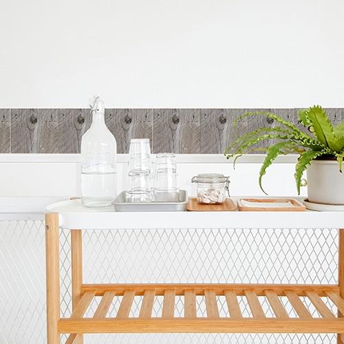 Adhésif pour carrelage blanc de salle à manger imitation bois