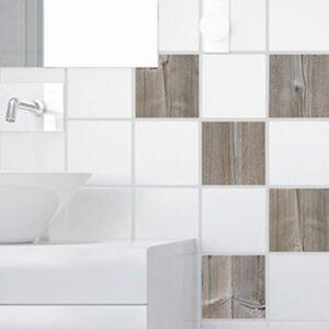 Autocollant décoration carrelage blanc pour cuisine planche de bois