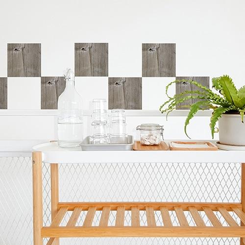 Sticker autocollant décoration planche de bois pour carrelage blanc de salle à manger