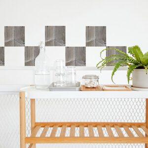 Autocollant imitation planche de bois pour décoration de carrelage blanc pour salle à manger