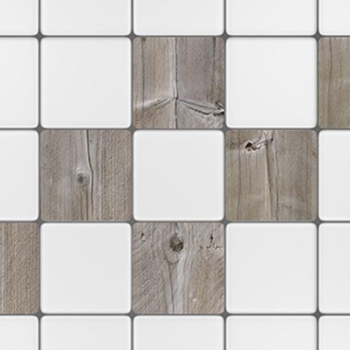 Sticker autocollant pour carrelage blanc de cuisine imitation planche de bois