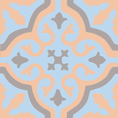 Sticker déco ciment fleur bleu, orange et marron pour carrelage