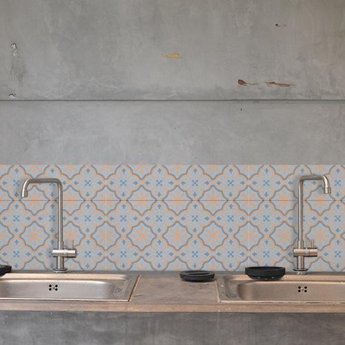 Adhésif décoration cuisine pour carrelage en béton gris ciment fleur bleu, orange et marron