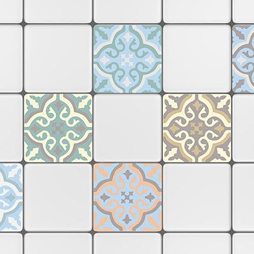 Sticker adhésif déco carrelage blanc ciment fleur bleu, orange et marron pour cuisine