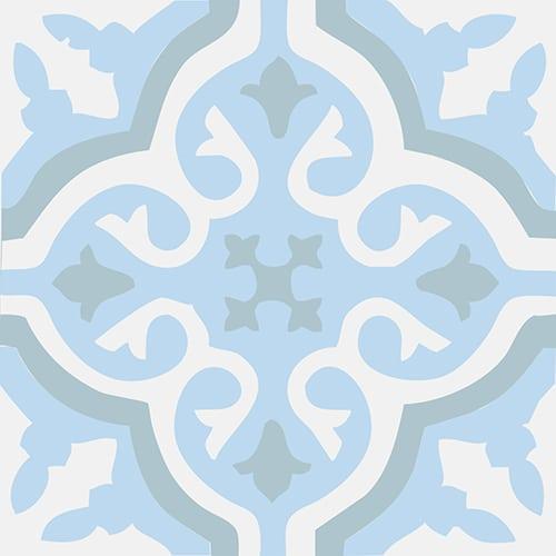 Sticker ciment fleur bleu, blanc et gris pour carrelage