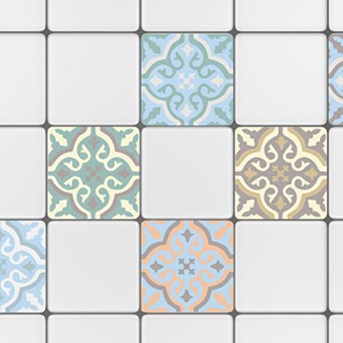 Adhésif décoration carrelage blanc ciment fleur bleu, blanc et gris pour cuisine