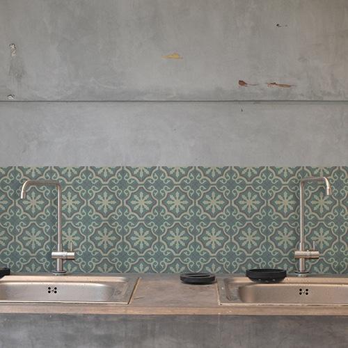 Adhésif décoration carrelage en béton gris ciment fleur vert, beige, marron pour cuisine