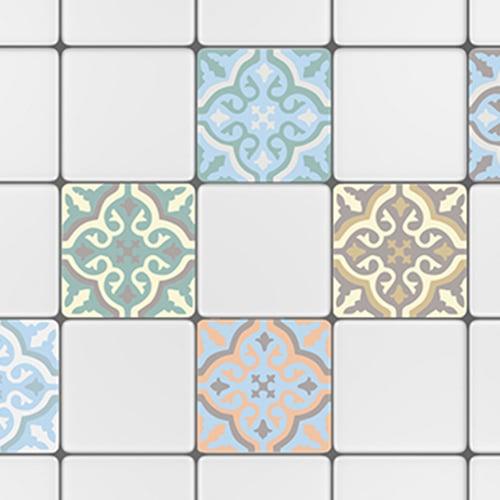 Sticker autocollant ciment fleur vert, beige, marron pour décoration de carrelage blanc