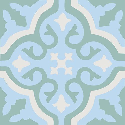 Sticker ciment fleur bleu, vert et beige pour carrelage