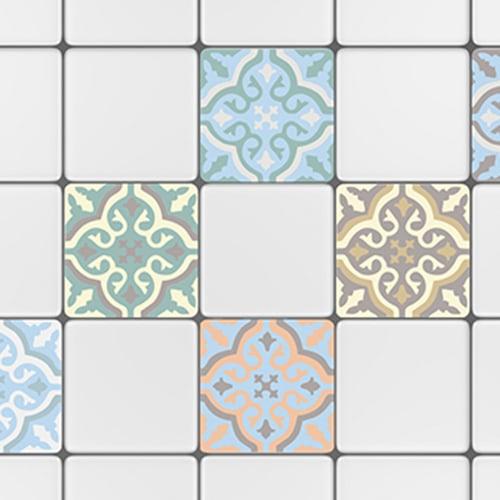 Sticker autocollant décoration carrelage blanc ciment fleur bleu, vert et beige pour cuisine