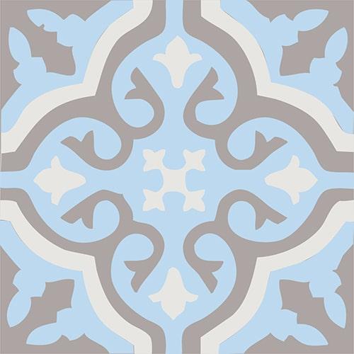 Sticker ciment fleur bleu, marron et beige pour carrelage