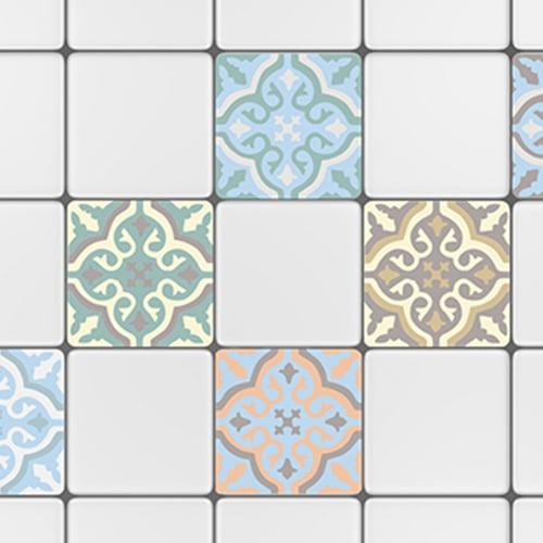 Sticker adhésif déco de carrelage blanc ciment fleur bleu, marron et beige pour cuisine