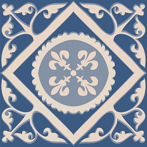 Sticker déco ciment bleu motif pour carrelage