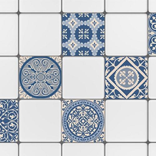 Autocollant déco ciment bleu motif pour carrelage blanc de cuisine