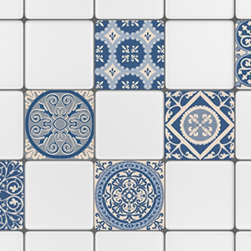 Sticker autocollant ciment bleu pour décoration de cuisine carrelage blanc