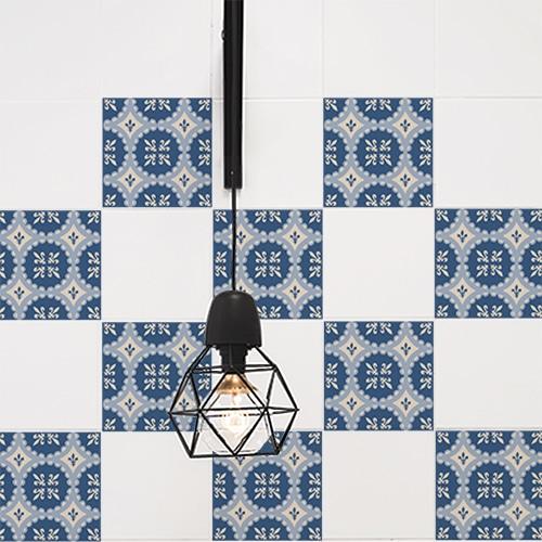 Autocollant décoration ciment bleu pour carrelage blanc cuisine