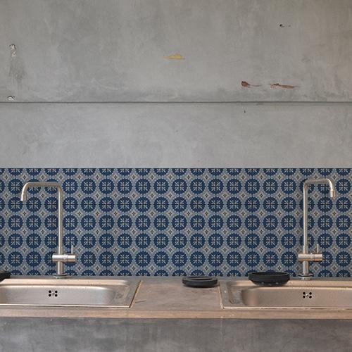 Adhésif décoration ciment bleu pour carrelage en béton gris cuisine