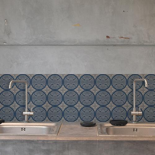 Adhésif déco ciment bleu rond carrelage en béton gris pour cuisine