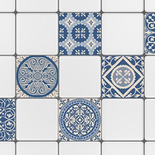 Sticker autocollant déco ciment bleu rond carrelage blanc pour cuisine