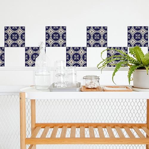 Adhésif décoration carrelage blanc ciment marine pour cuisine